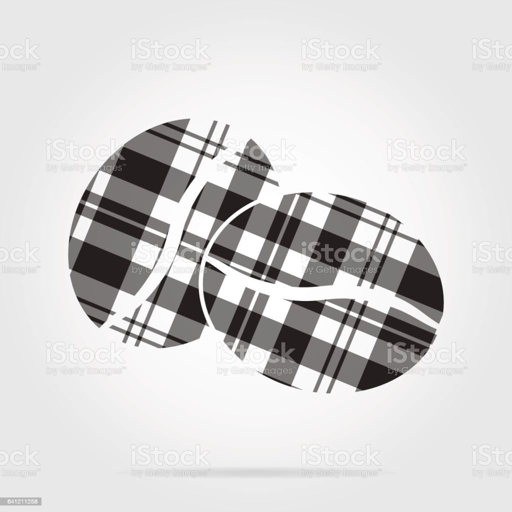 grayscale tartan isolated icon - two coffee beans vector art illustration