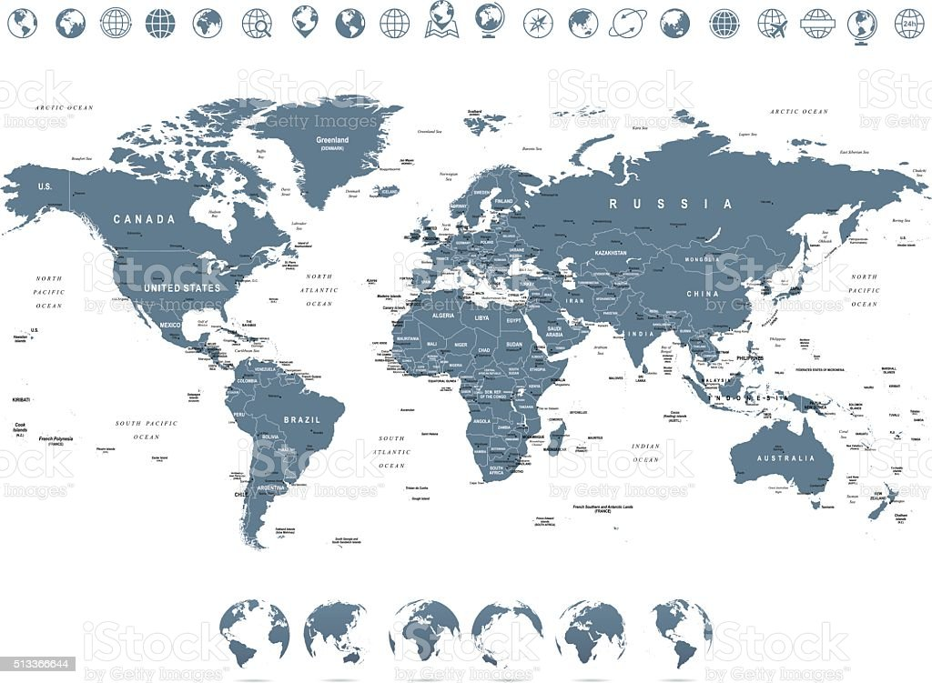 Grayscale World Map and Globe Icons - illustration vector art illustration