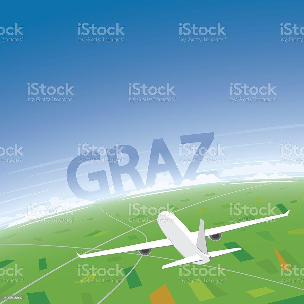Graz Flight Destination vector art illustration