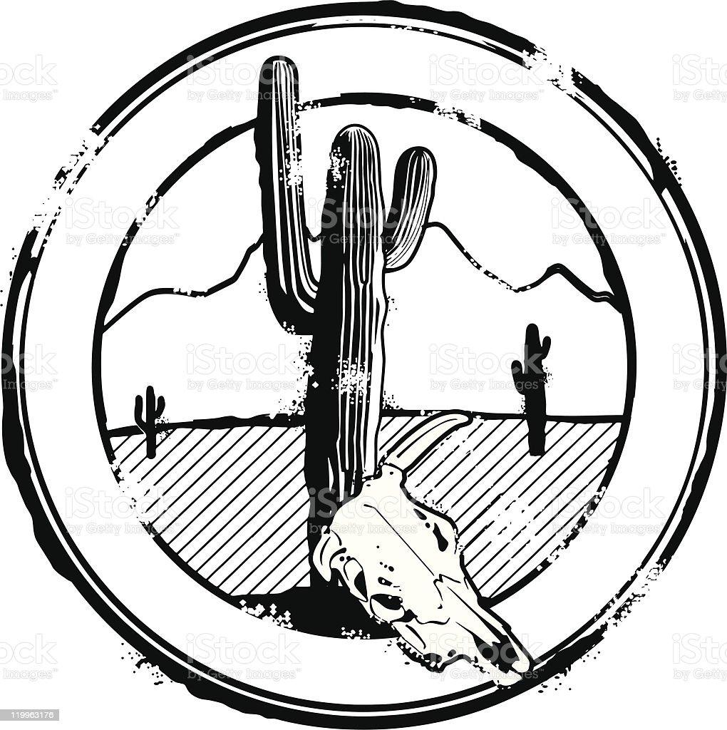 Great American Desert Stamp vector art illustration