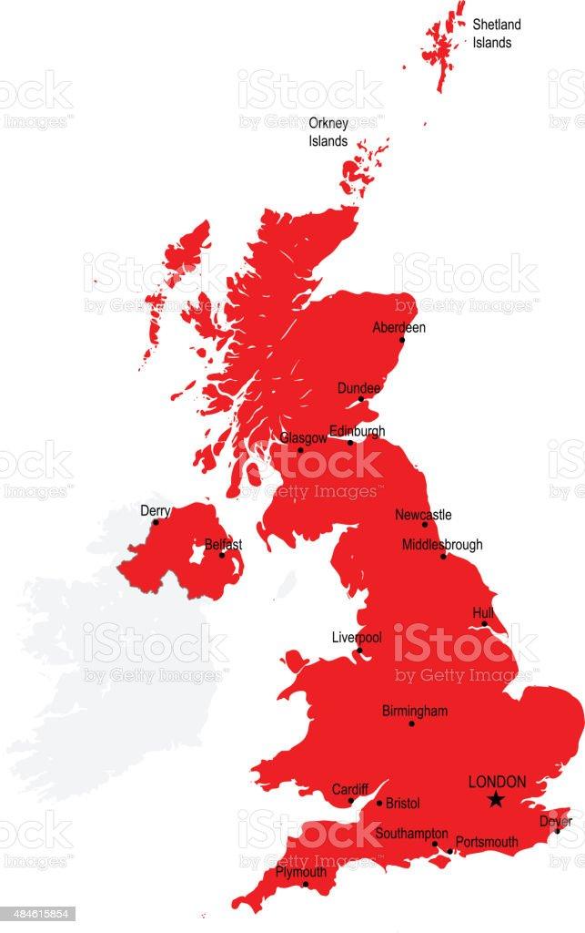 Great Britain map vector art illustration