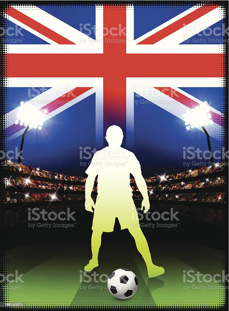 Great Britain Soccer Player on Stadium Background royalty-free stock vector art