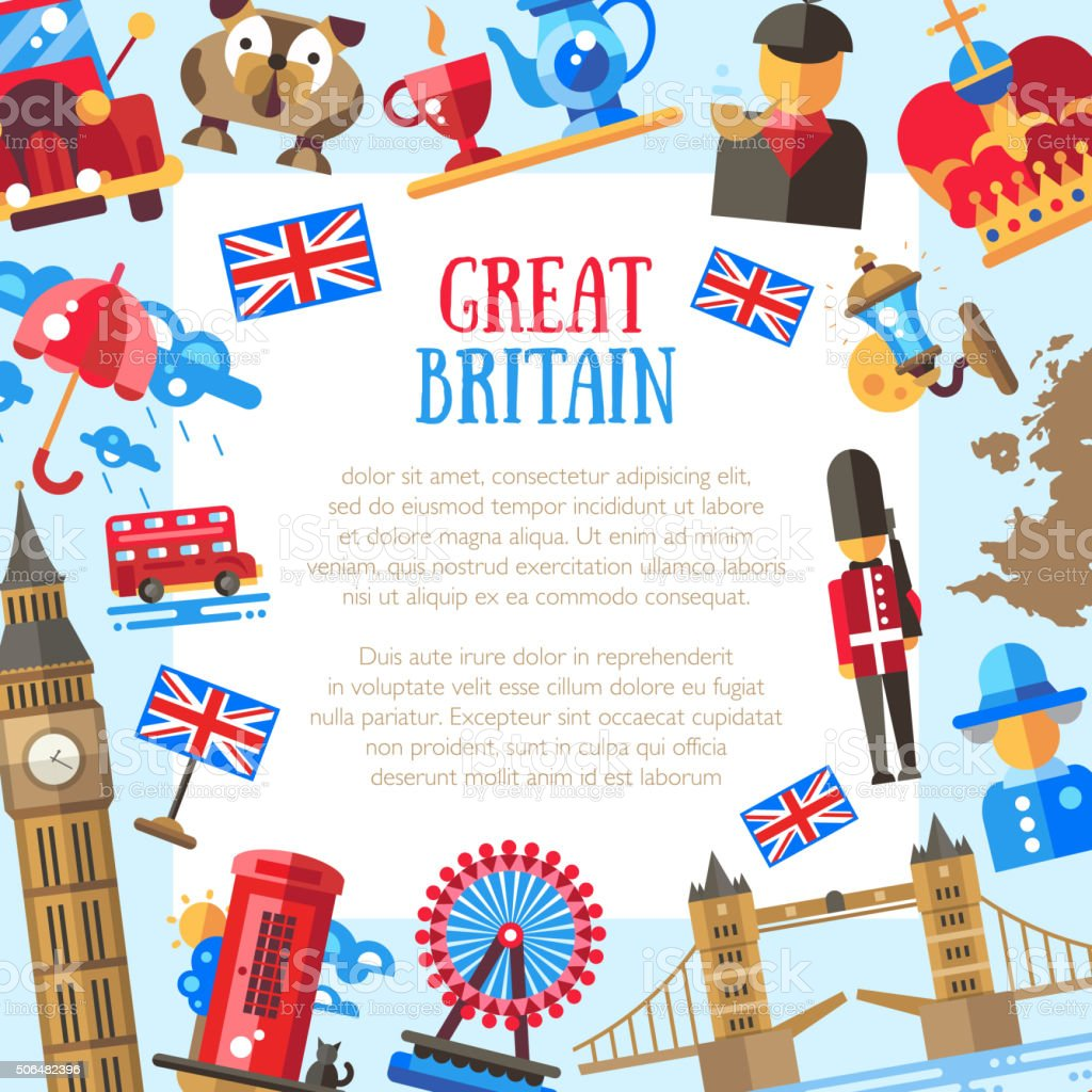 Great Britain travel card template with famous British symbols vector art illustration