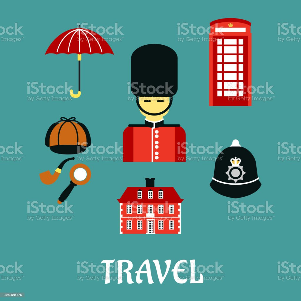 Great Britain travel flat icons vector art illustration