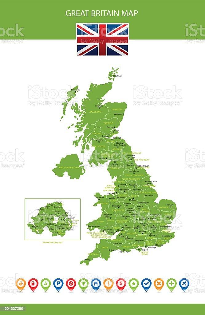 Great Britain Vector Map vector art illustration