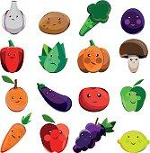 Great designed set of cartoon vegetables