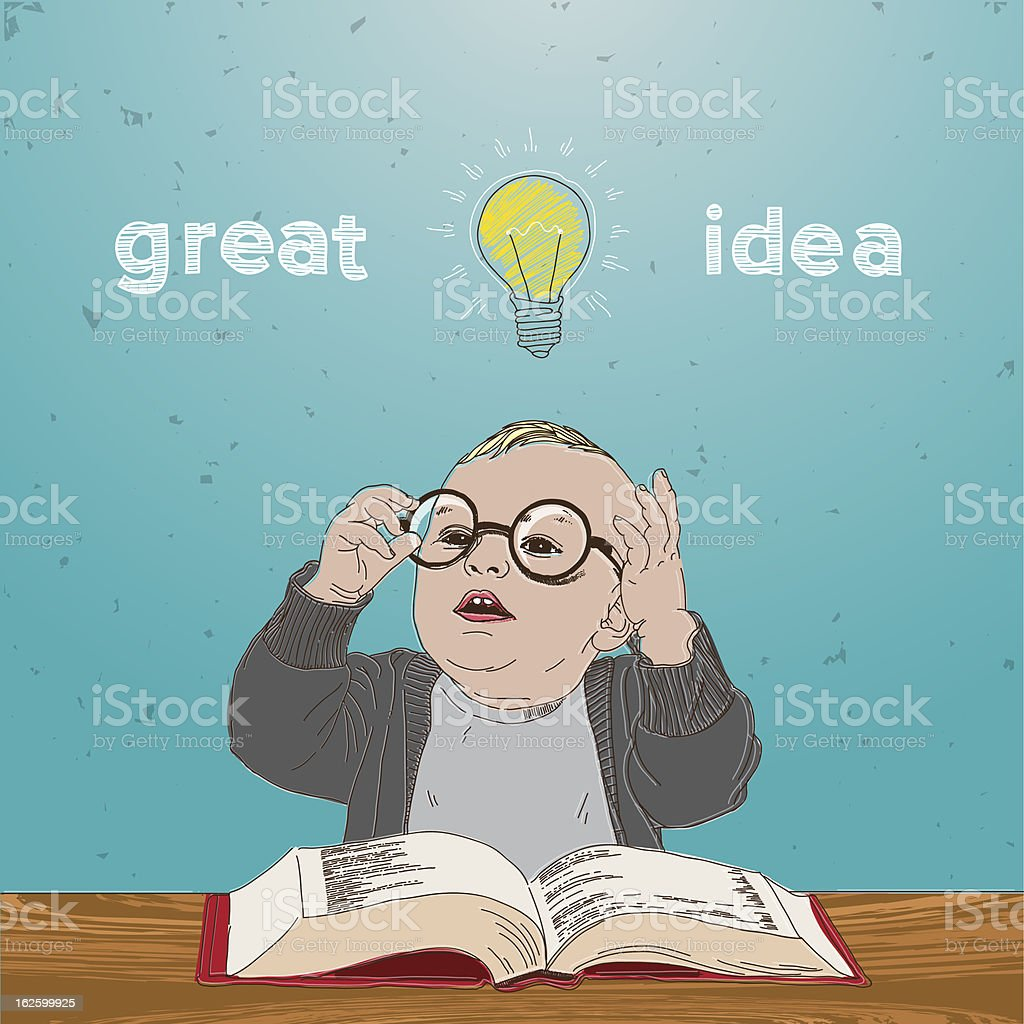 Great idea. Kid with book and bulb above his head. royalty-free stock vector art