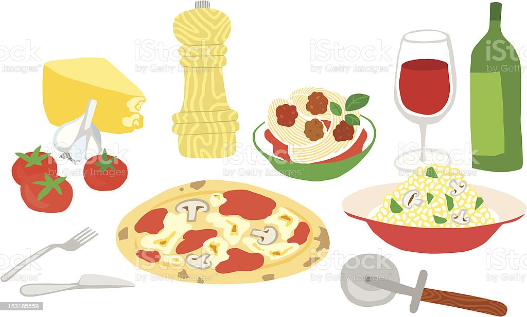 Great Italian Food Set royalty-free stock vector art