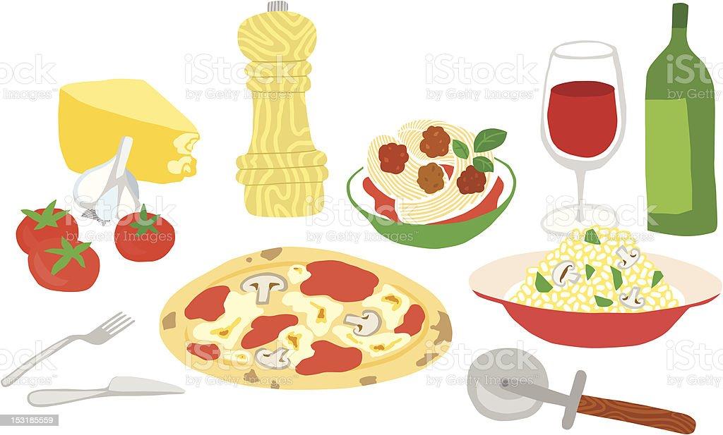 Great Italian Food Set vector art illustration