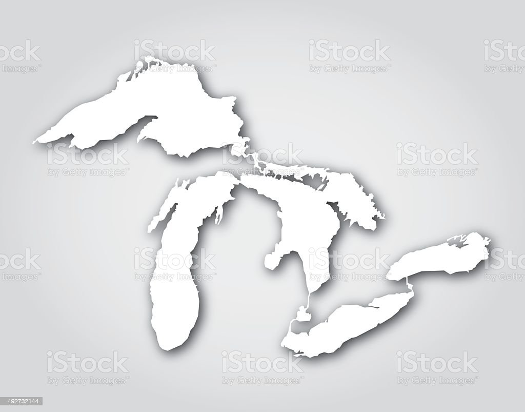 Great Lakes Silhouette White vector art illustration
