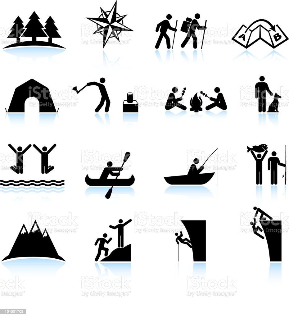 Great outdoors camping and hiking black & white icon set vector art illustration