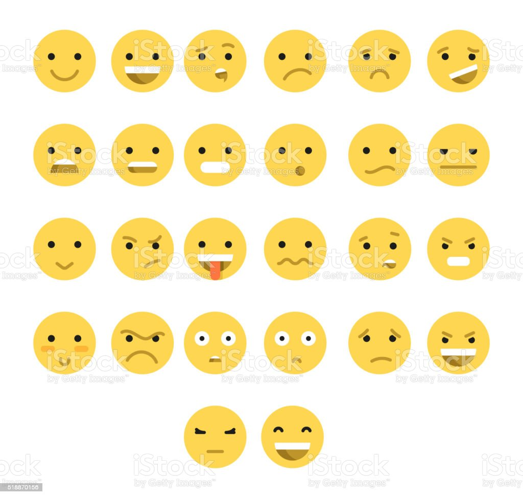 Great set of 26 yellow emotions insulated with transparent shadow. vector art illustration
