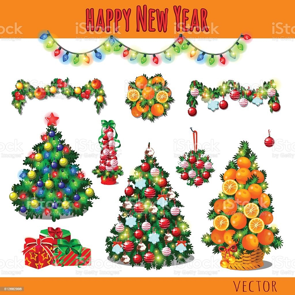 Great set of Christmas decorations and gifts vector art illustration