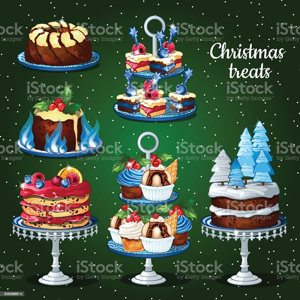 Great set of desserts for the Christmas holidays vector art illustration