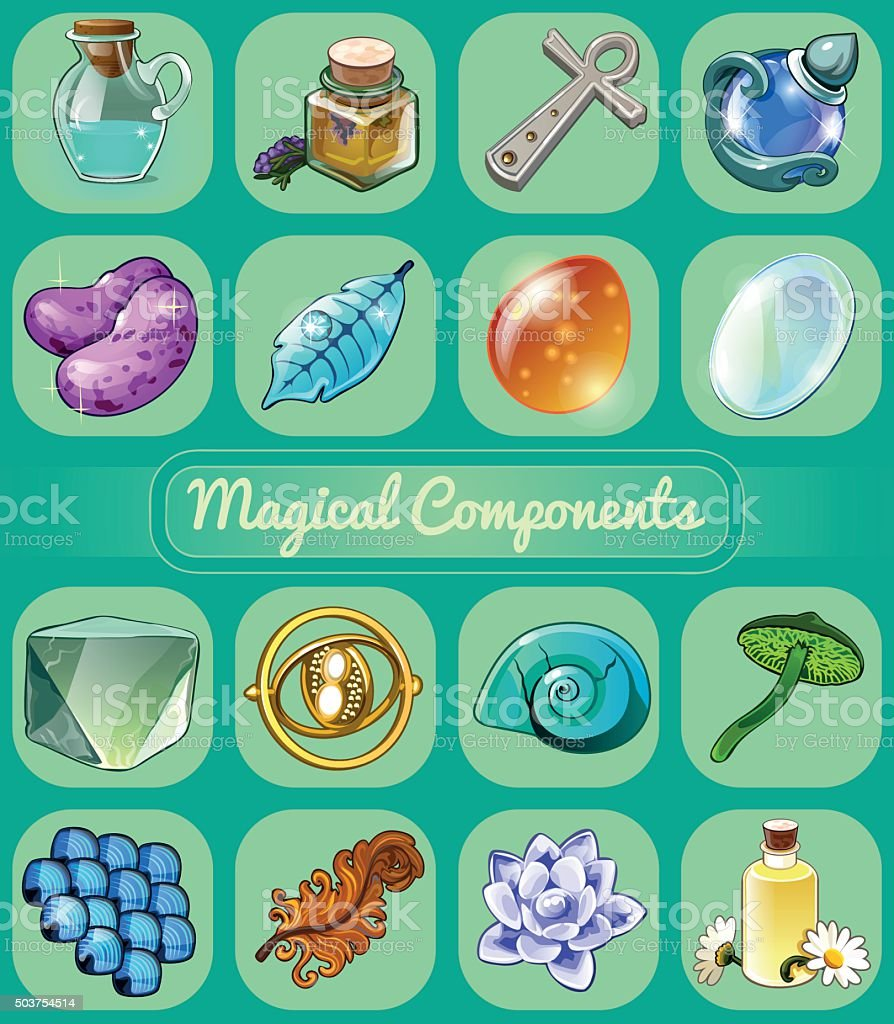 Great set of magical artifacts vector art illustration