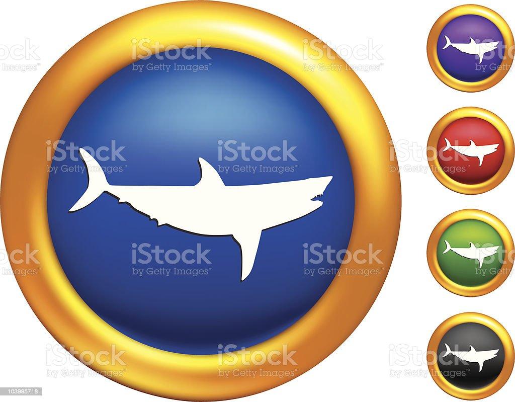Great white shark on golden buttons with Illustrator Mesh borders vector art illustration