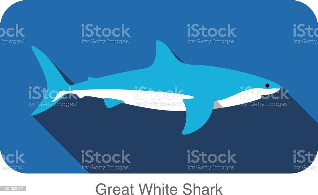 Great white shark swimming  flat 3D icon design vector art illustration