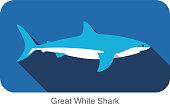 Great white shark swimming  flat 3D icon design