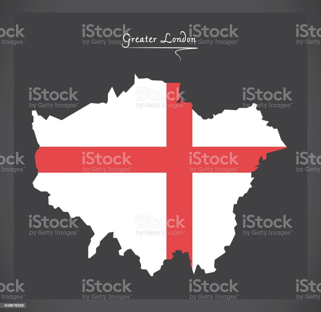 Greater London Map With Flag Of England Illustration stock vector – Map of Greater London England