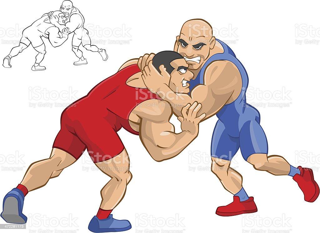 Greco-roman wrestling vector art illustration