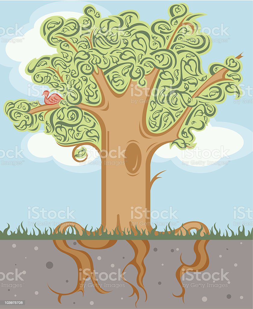 Gree Tree with Roots royalty-free stock vector art