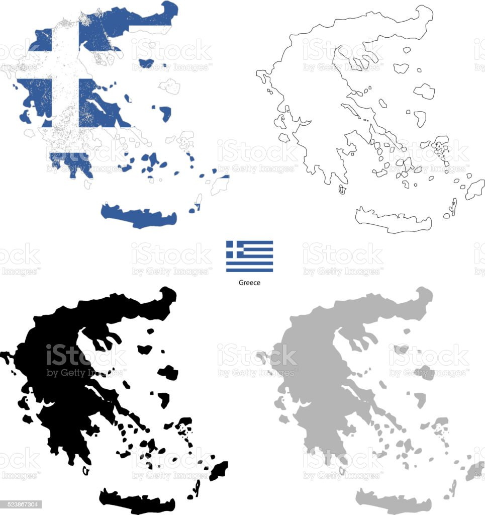 Greece country black silhouette and with flag on background vector art illustration