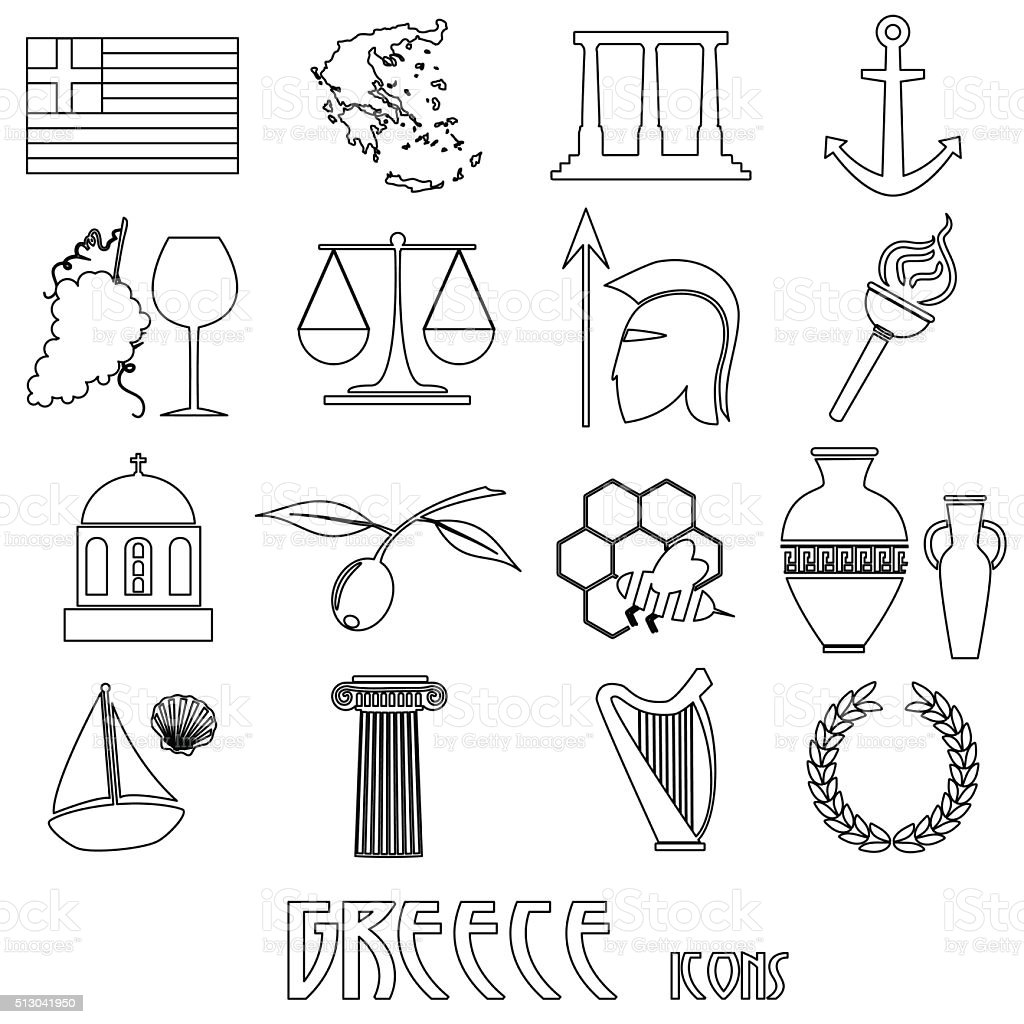 greece country theme symbols and outline icons set eps10 vector art illustration