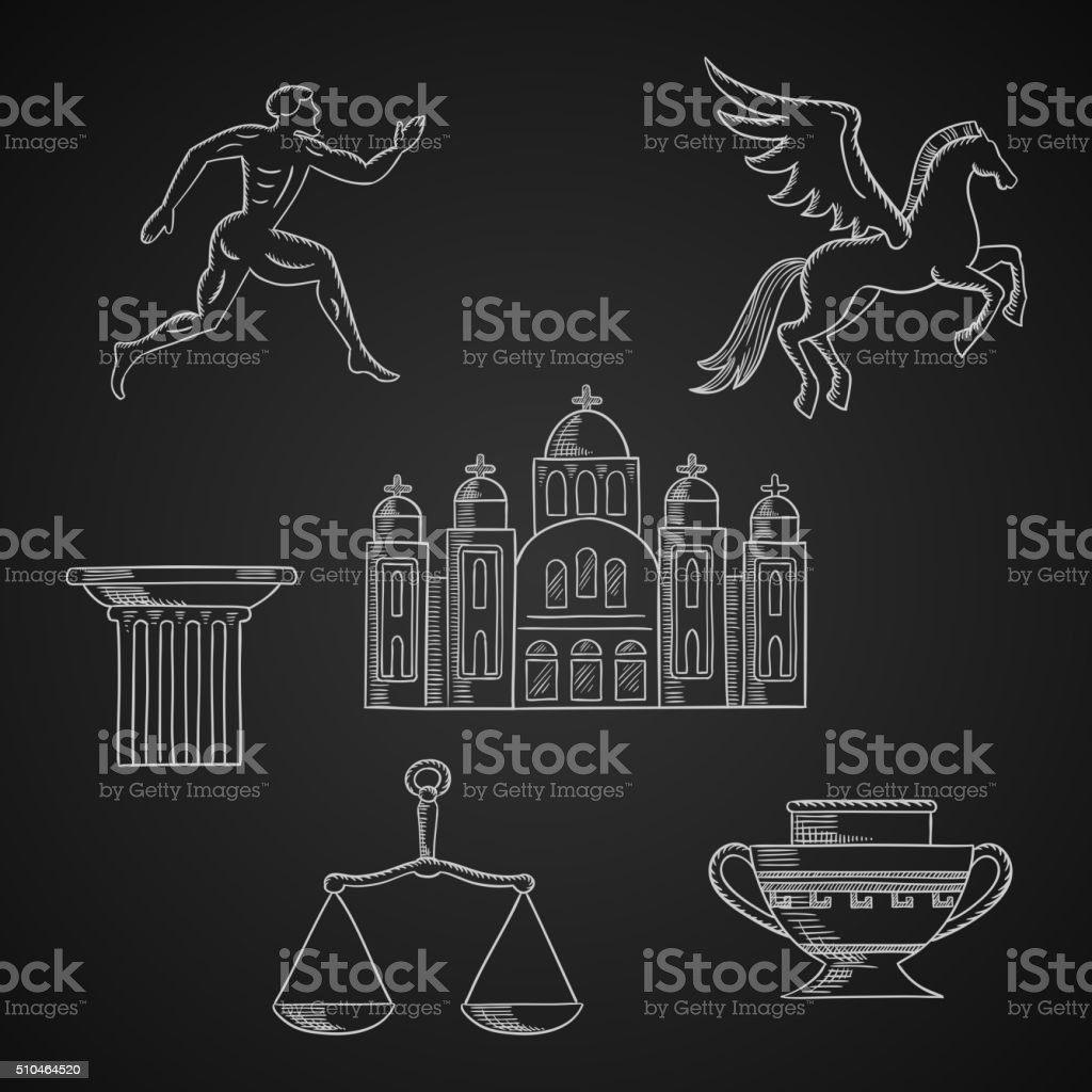 Greece culture and art chalk icons vector art illustration
