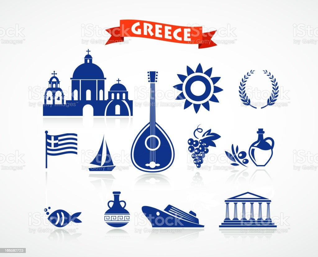 Greece - icon set vector art illustration