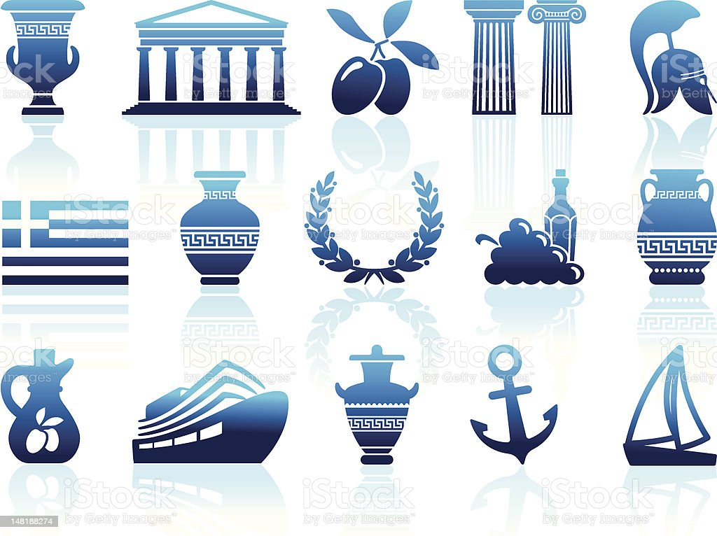 Greece icons royalty-free stock vector art