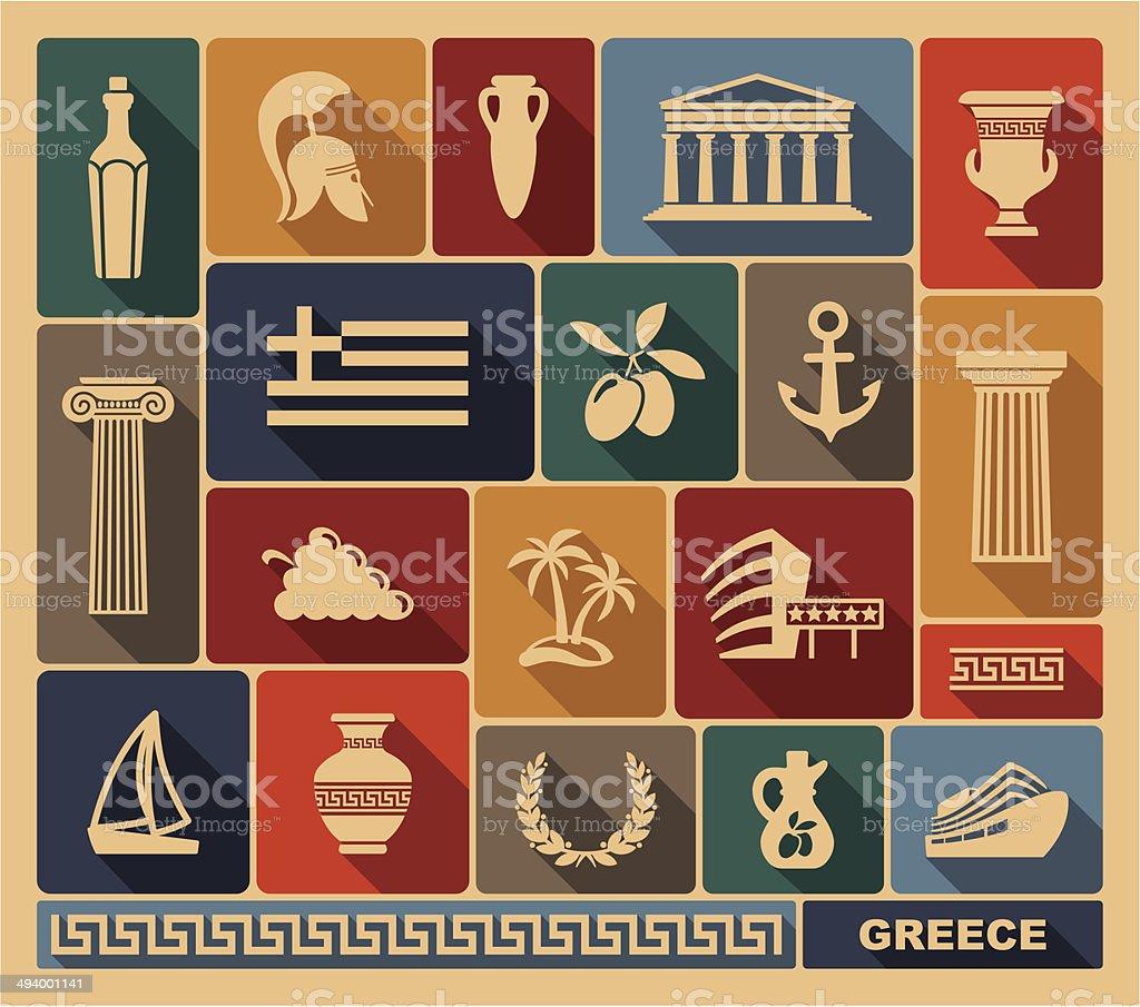 Greece icons vector art illustration