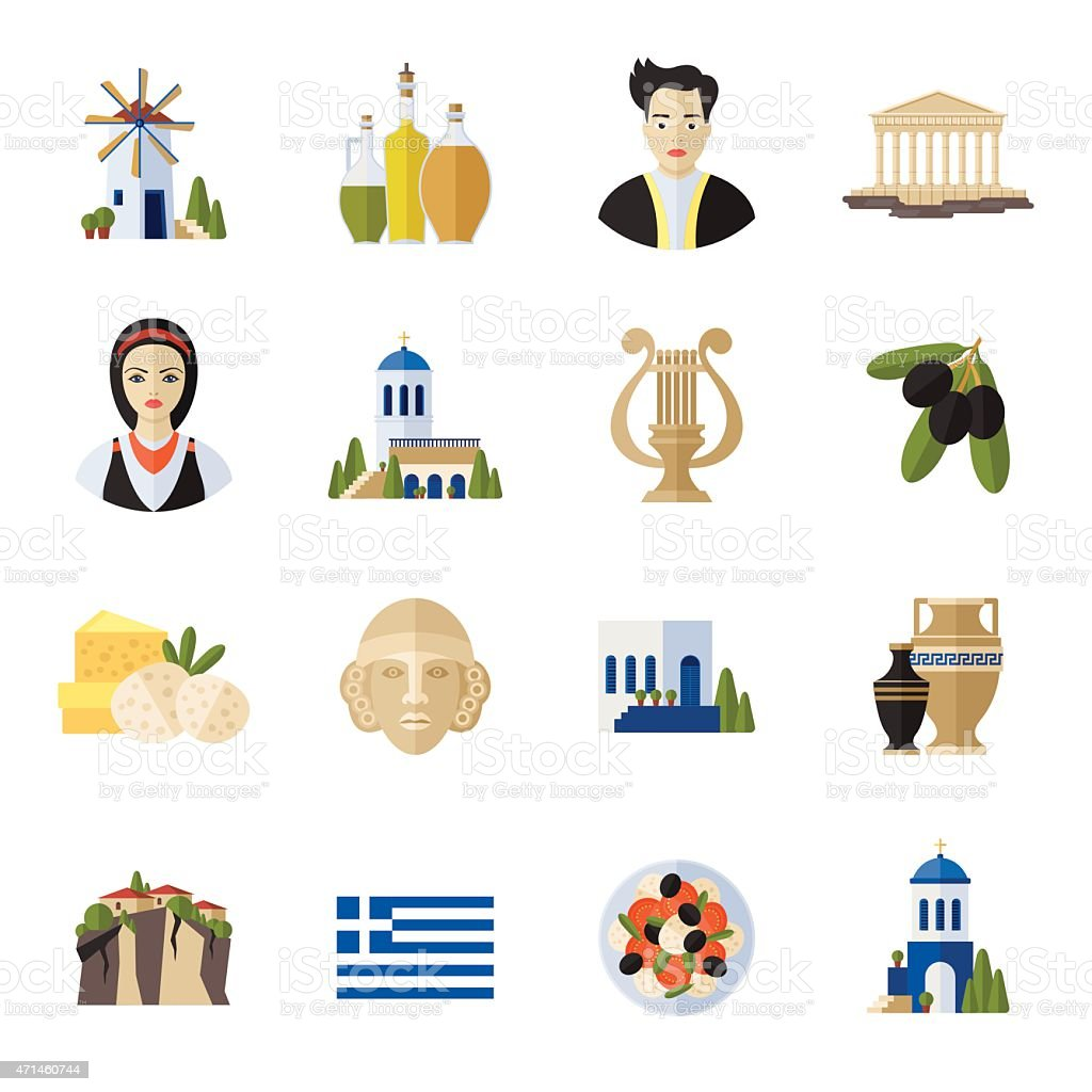 Greece Landmarks and cultural features flat icons design set vector art illustration