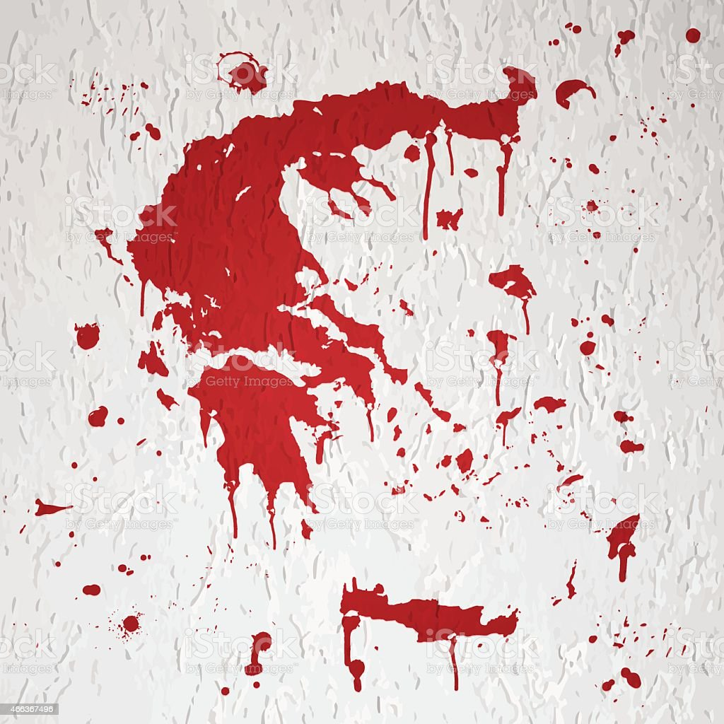 Greece map graffiti red splats on white wall vector art illustration