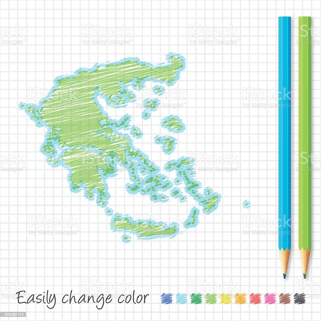 Greece map sketch with color pencils, on grid paper vector art illustration