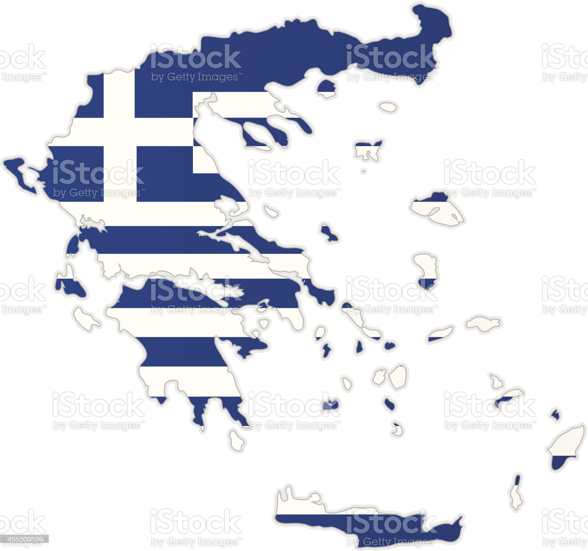 Greece map with flag royalty-free stock vector art