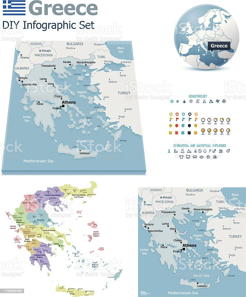 Greece maps with markers royalty-free stock vector art