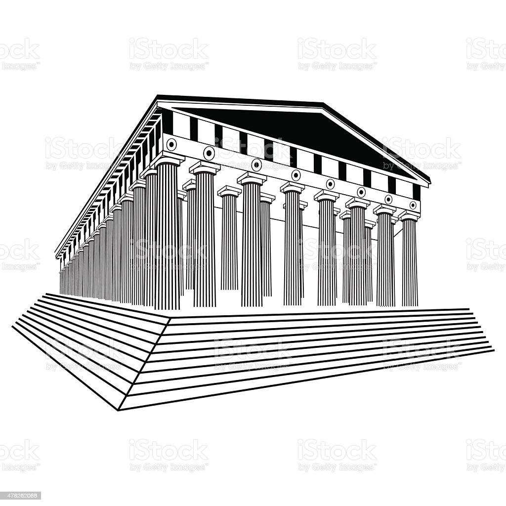 Greece Parthenon sketch vector vector art illustration