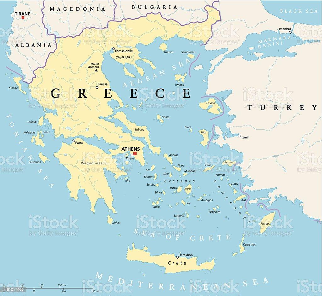 Greece Political Map vector art illustration