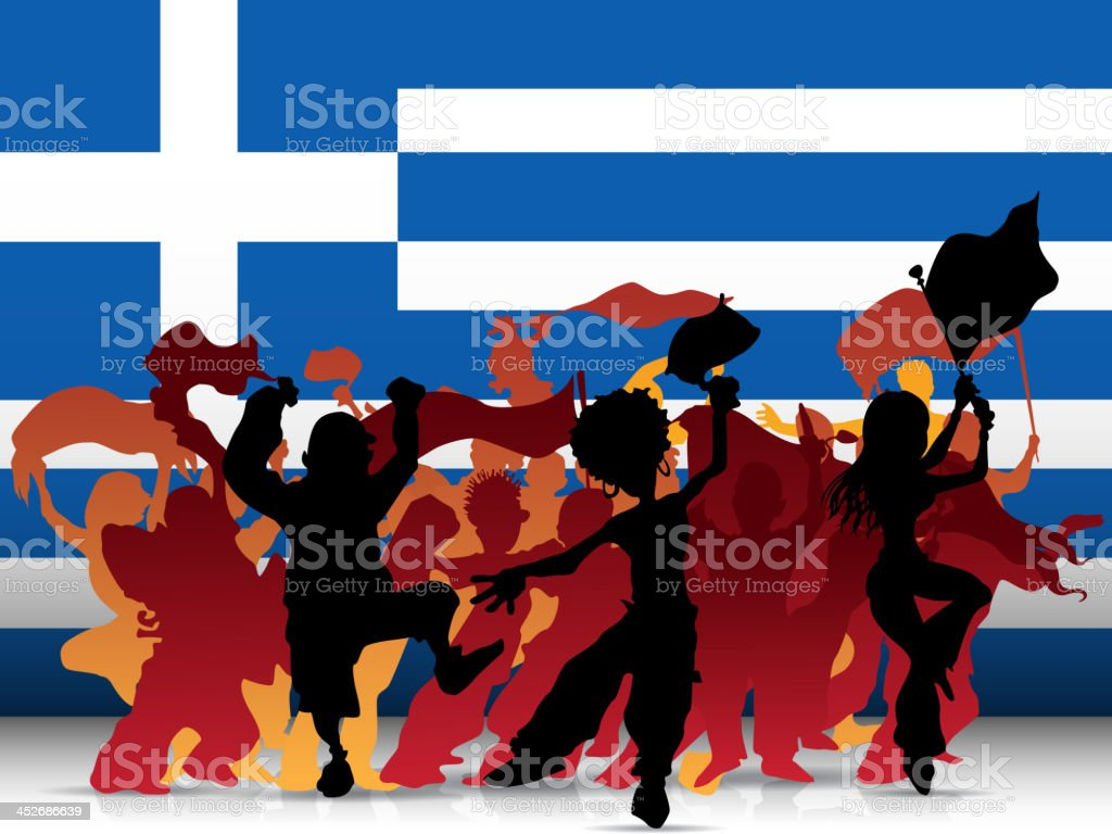 Greece Sport Fan Crowd with Flag royalty-free stock vector art