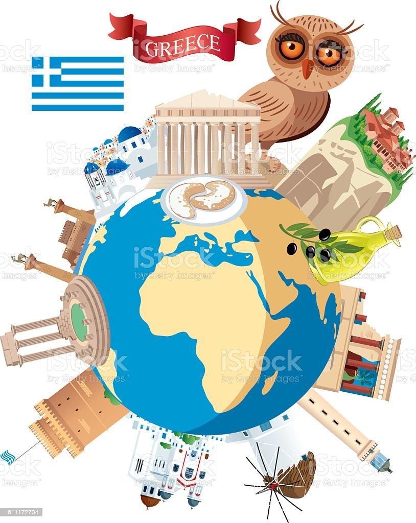 Greece Travel vector art illustration