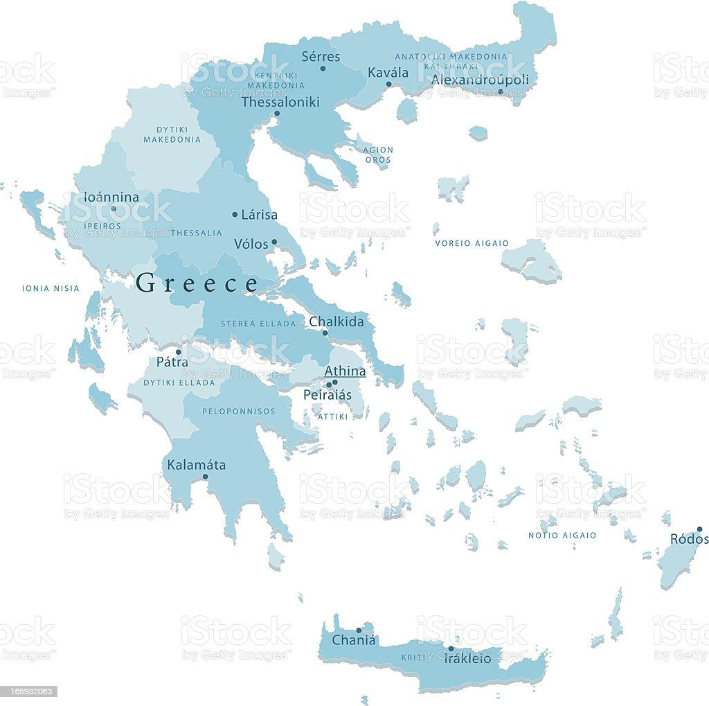 Greece Vector Map Regions Isolated vector art illustration