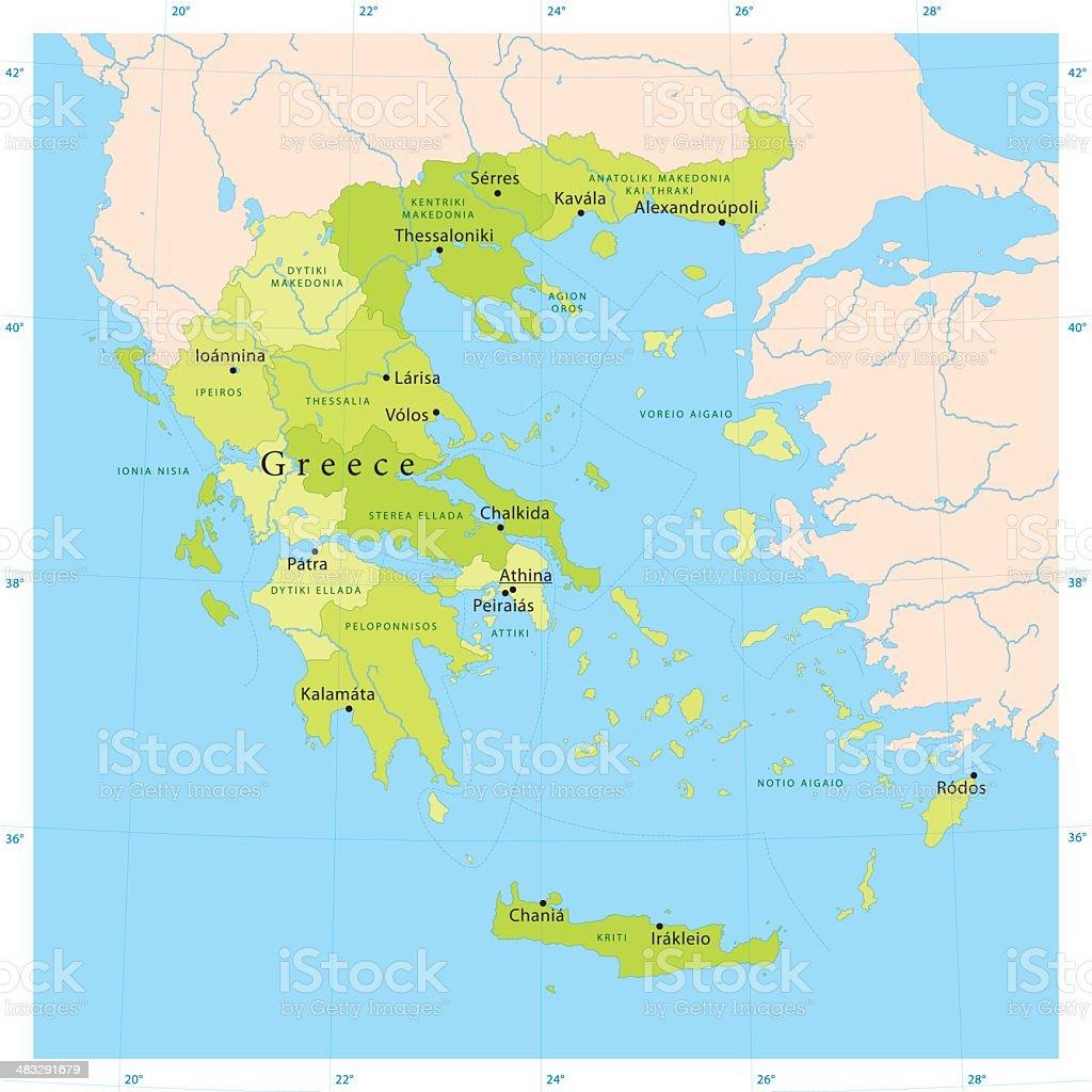 Greece Vector Map vector art illustration