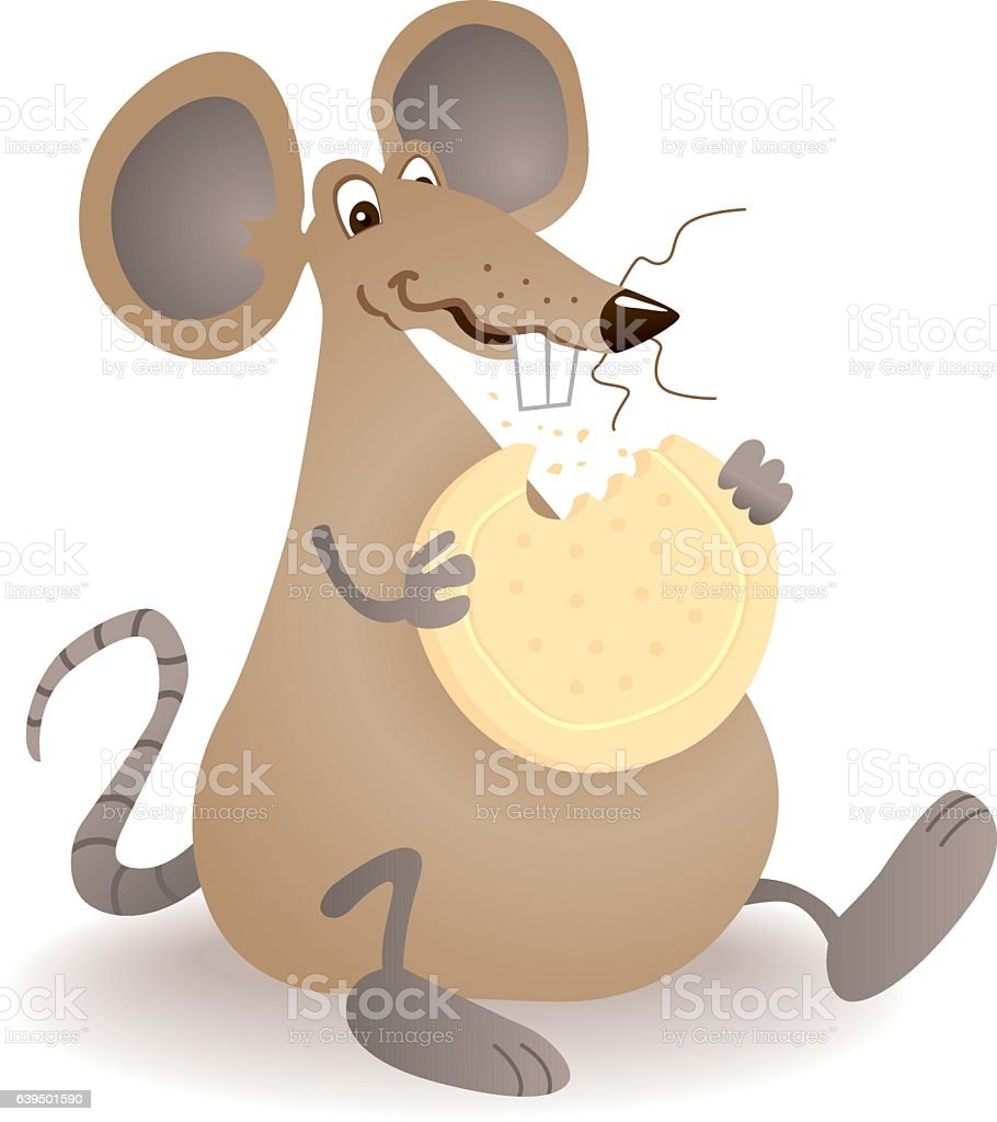 Greedy Biscuit Mouse vector art illustration