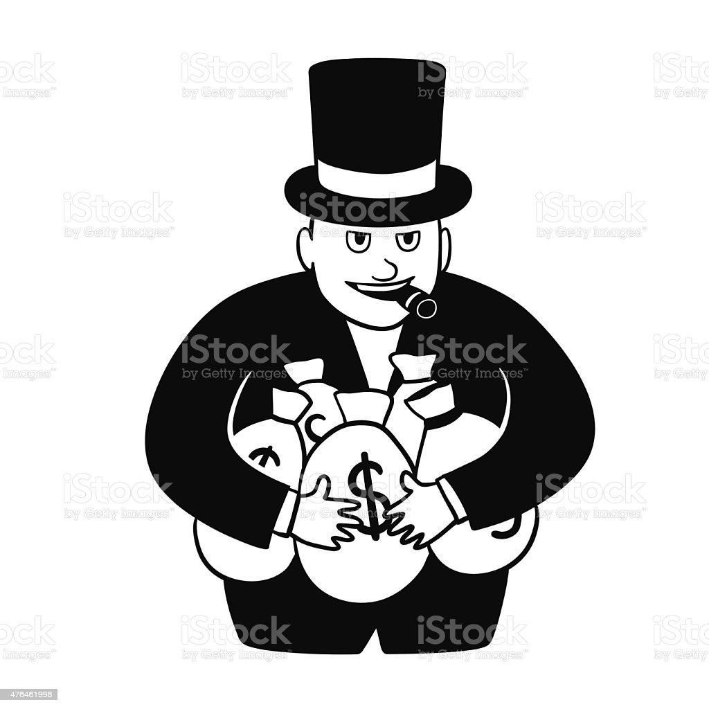 Greedy businessman vector art illustration