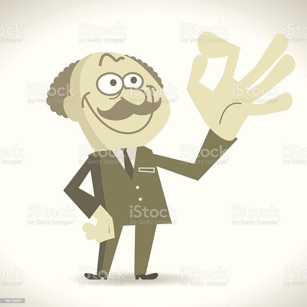 Greedy evil boss gesturing OK royalty-free stock vector art