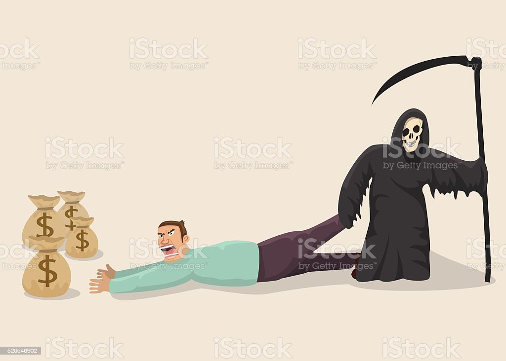 Greedy man facing death vector art illustration