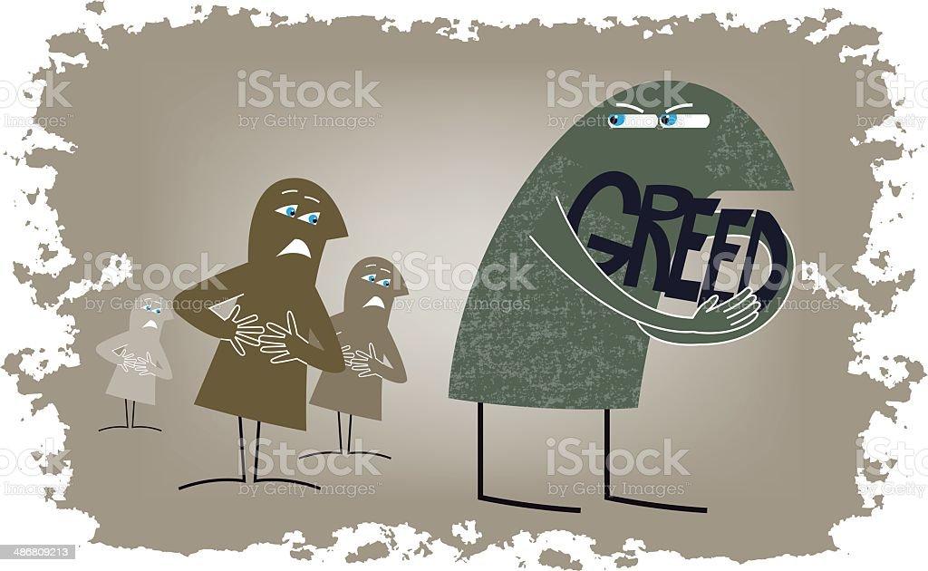 Greedy vector art illustration
