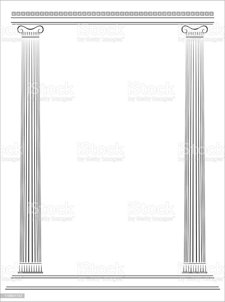 Greek Antique Temple's Pillars vector art illustration
