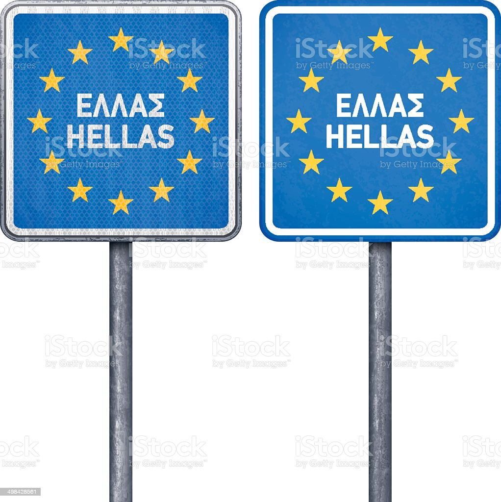 Greek border road sign with European flag royalty-free stock vector art
