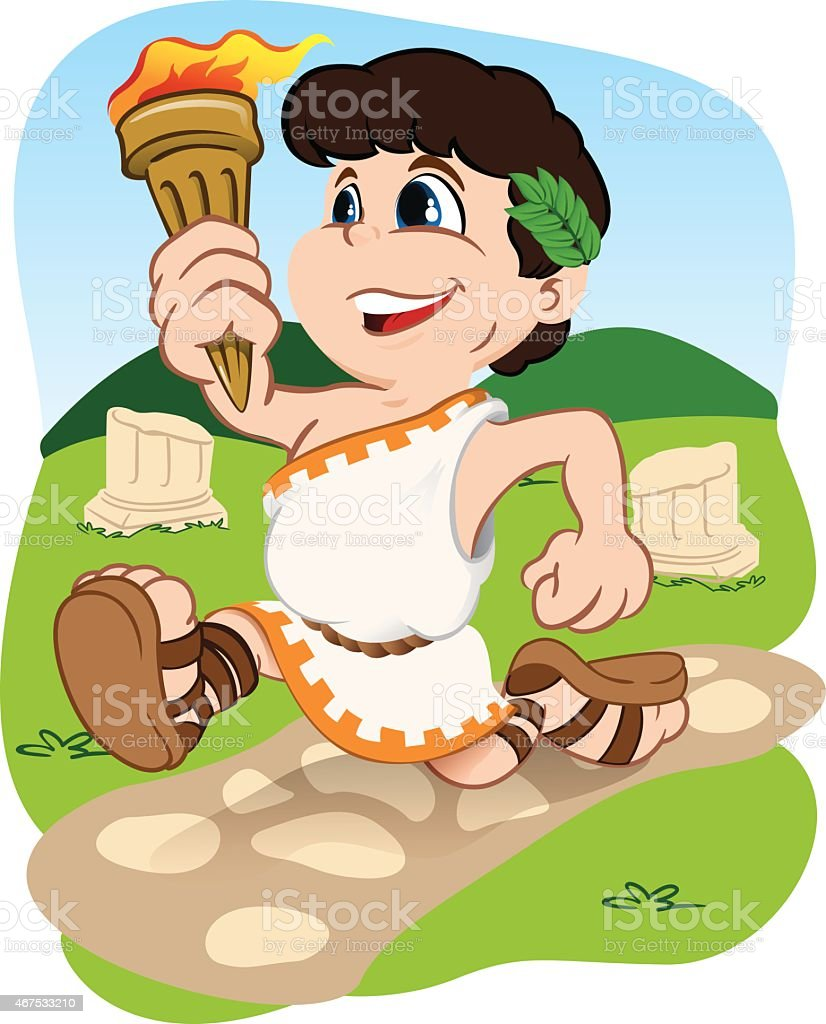 Greek child carrying Olympic torch sports vector art illustration